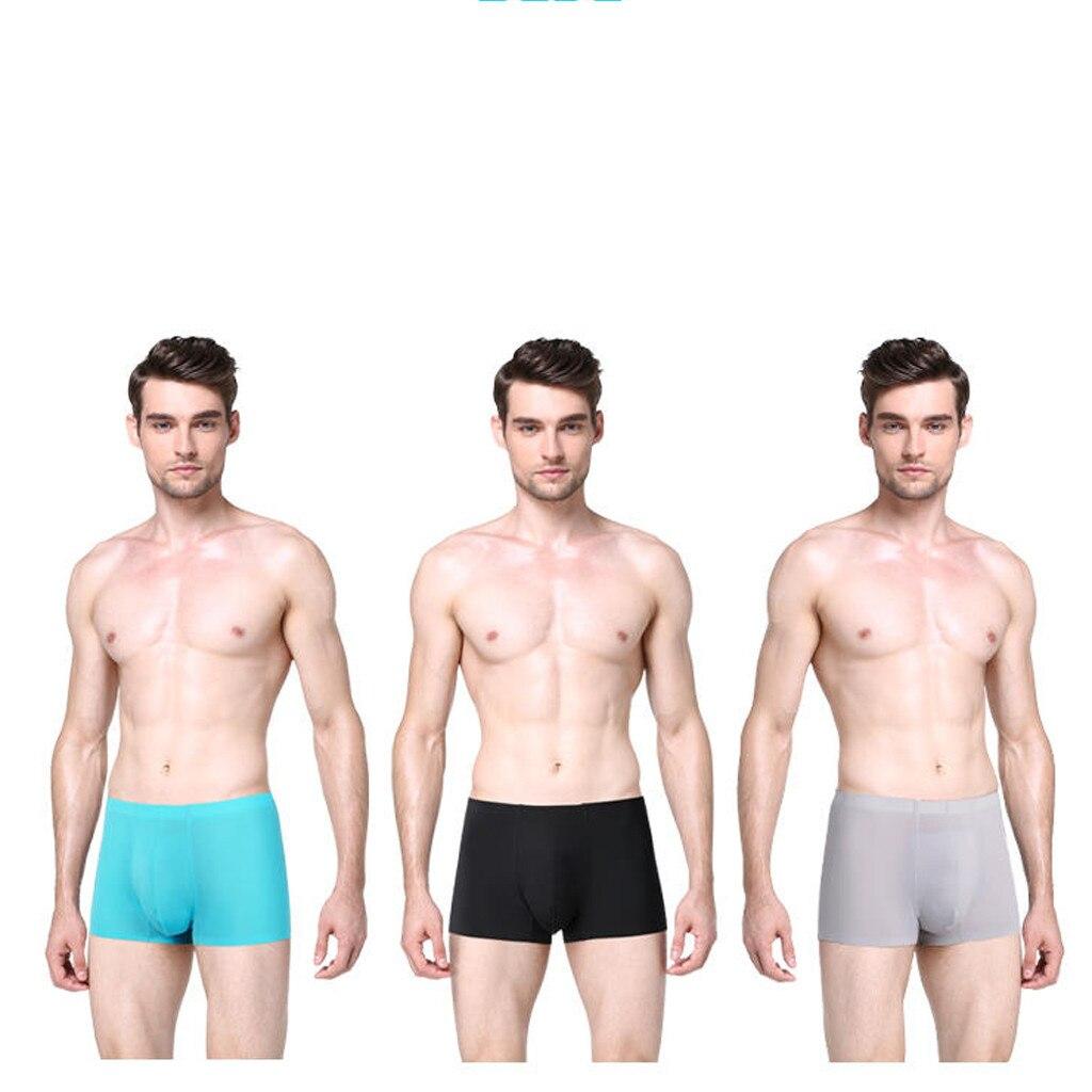 MUQGEW дышащие шелковые мужские трусы, шорты, нижнее белье, боксеры, модное нижнее белье, шелк, не скользит, тонкий мешочек, трусы# y4