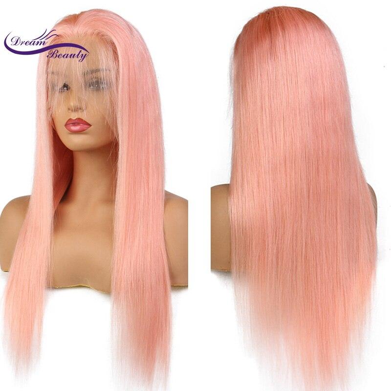 夢美容ペルーレミー人間の髪ピンク色フロントレースかつら事前摘み取ら生え際ストレート髪グルーレスかつら  グループ上の ヘアエクステンション & ウィッグ からの 人毛レースウィッグ の中 2