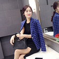 New Fall Fashion 2016 Hot Sale Female Blazers Spring Autumn Women's Casual Blazer Single Button Slim Plaid Jackets Plus Size XXL