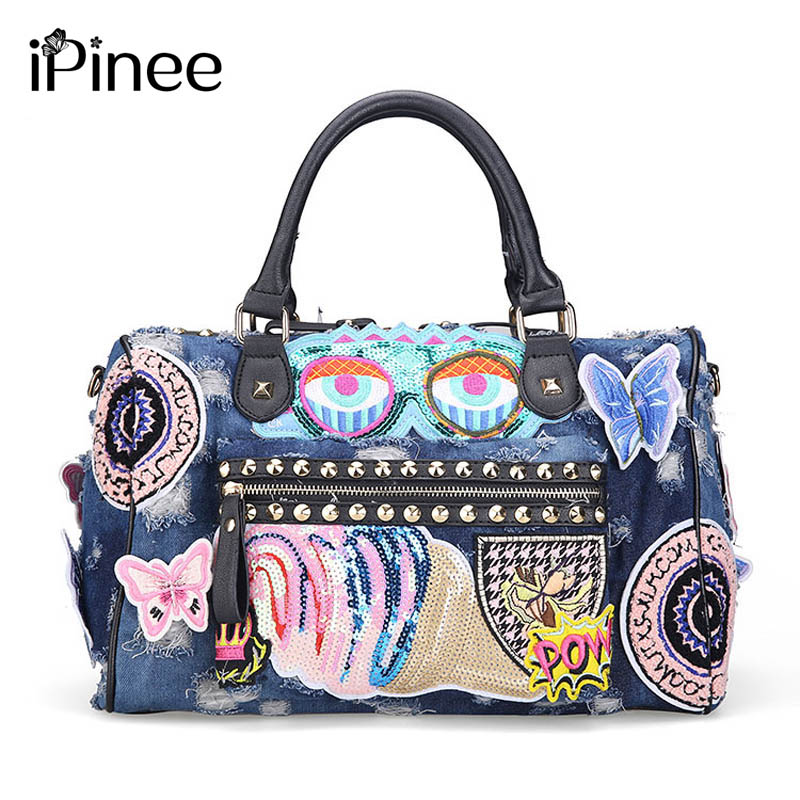 iPinee New 2018 Women Luggage Travel Bag Cute Cartoon Daypack Denim Bags Handbags Fashion Shoulder Bag Female