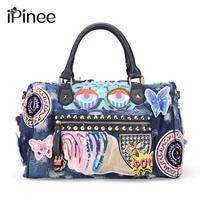 iPinee New 2018 Women Luggage Travel Bags Cute Cartoon Daypack Denim Bags Handbags Fashion Shoulder Bag Female