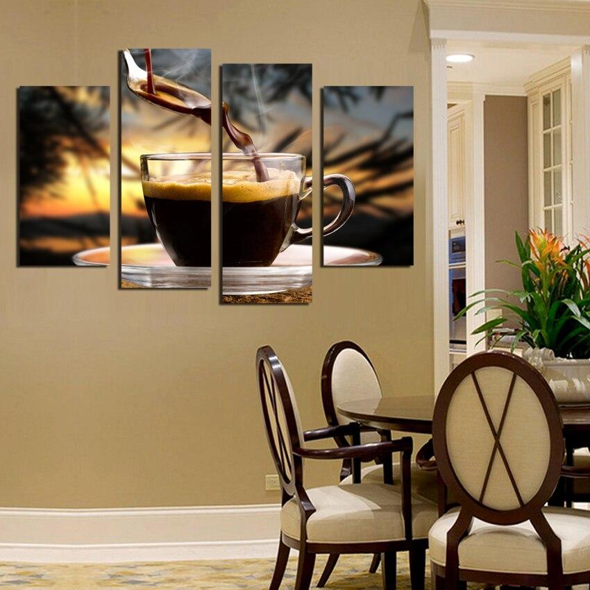 Лидер продаж Специальное предложение 4 панели кофе е фон печати на стене Книги по искусству модульная фотографии Кухня украшения дома Unframed ...