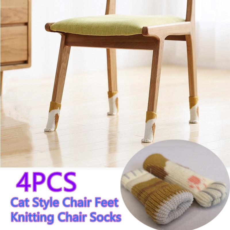 4pcs Chair Leg Cat Paws Socks Cloth Floor Protection Knitting Wool Socks Anti-slip Table Legs Furniture Feet Sleeve Cover