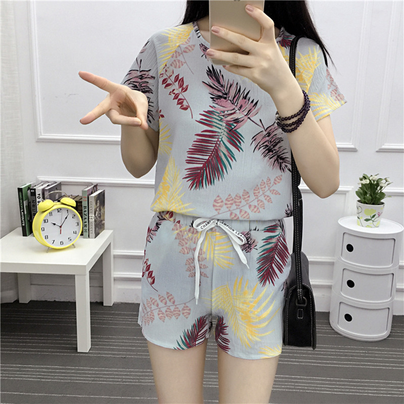 chiffon-letter-print-short-sleeved-shorts-casual-two-piece-2019-new-summer-t-shirt-suit-fashion-elegant-women's-clothing