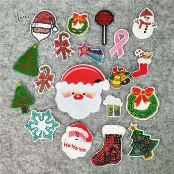 Christmas Theme Embroidery Applique Iron On Patches Fabric Sequins Stickers Cartoon Badges For Clothing Jeans DIY Accessories image