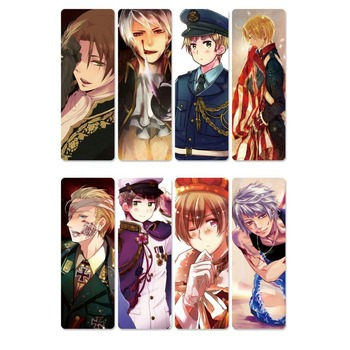 8pcs Anime Hetalia Axis Powers Bookmarks Waterproof Transparent PVC Plastic Bookmark Beautiful Book Marks Gift цена 2017