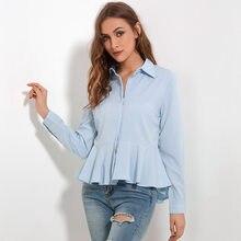 fb20dda16db 2018 Для женщин Блузы шифоновые рубашки с рюшами новая мода воротник  женские топы с баской рубашка