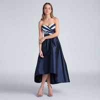 High Low Women Skirt In Dark Blue Taffeta 2017 Stylish Banquet Party Skirt Custom Made Invisible