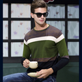 2016 New Autumn & Spring Fashion Casual Sweater O-Neck Striped Slim Fit Knitting Mens Pullover Sweater