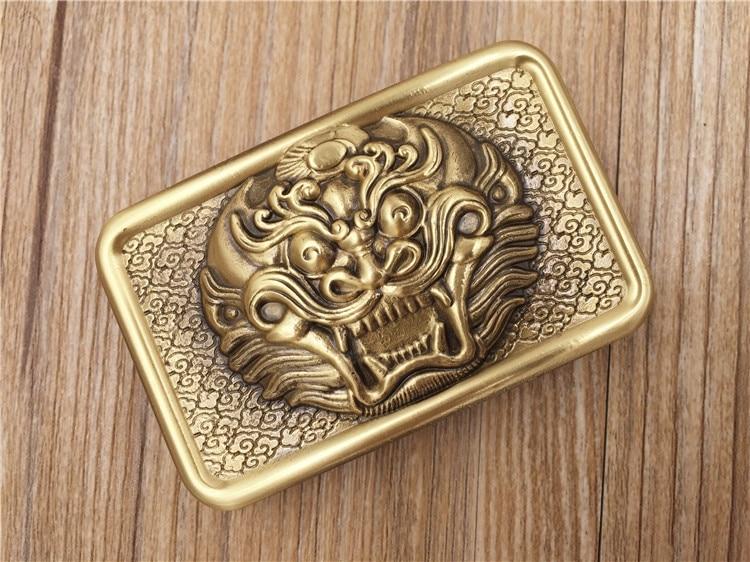 Lion head embossed Brass belt Buckle