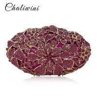 Хрустальный цветок выдалбливают Lady Diamond сумка блестящие стразы Банкетный Кошелек Для женщин вечерние клатч косметичке pochette кошелек