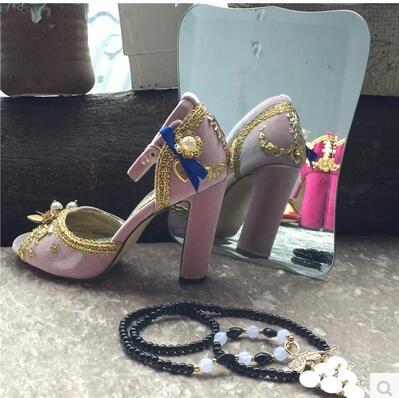 Hot Selling Ladies Retro wind tide Sandals Pearl High Heels Lace Peep Toe Shoes Wedding Party Dress Shoes unipump fekacut v1100df