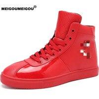 MEIGOUMEIGOU/большие размеры 39-47, Мужская обувь из вулканической ткани, непромокаемые высокие кроссовки, мужская повседневная обувь, модный метал...