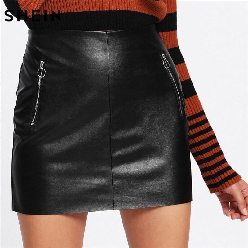 SHEIN Highstreet mujer Sexy Falda corta moda mujer ropa 2018 negro cintura alta o-ring Zip detalle imitación cuero falda