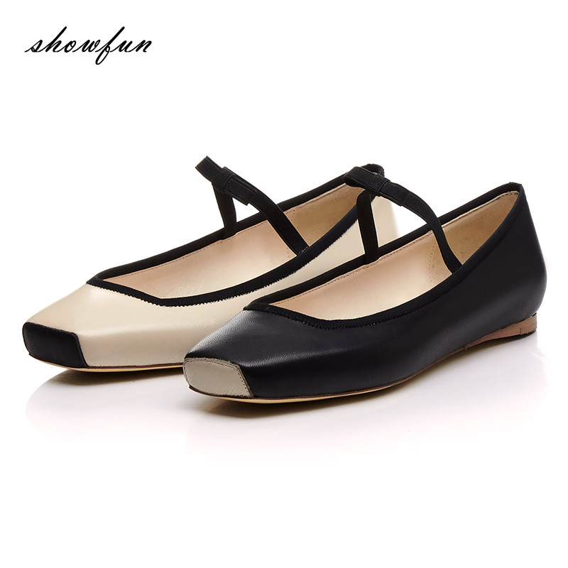 Women's Mary Jany Slip-on Ballet Flats Brand Designer Square Toe Real Leather Sweet Bowtie Ballerinas Leisure Espadrilles Shoes lady glitter high fashion designer brand bow soft flock plus size 43 leisure pointed toe flats square heels single shoes slip on