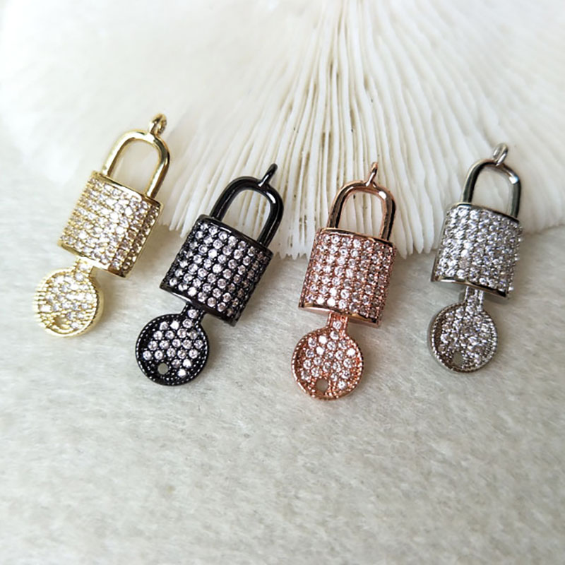 10Pcs Tiny CZ crystal key and lock Charm,CZ zircon Stone Micro pave Pendants,Jewelry Finding DIY necklace making PD803(China)