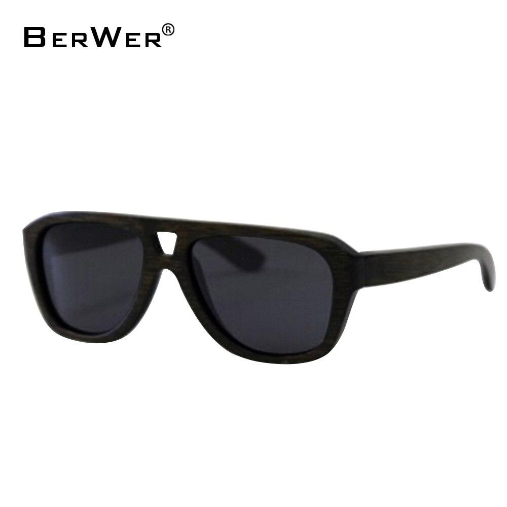 BerWer Vintage Retro zwarte handgemaakte bamboe houten zonnebril - Kledingaccessoires