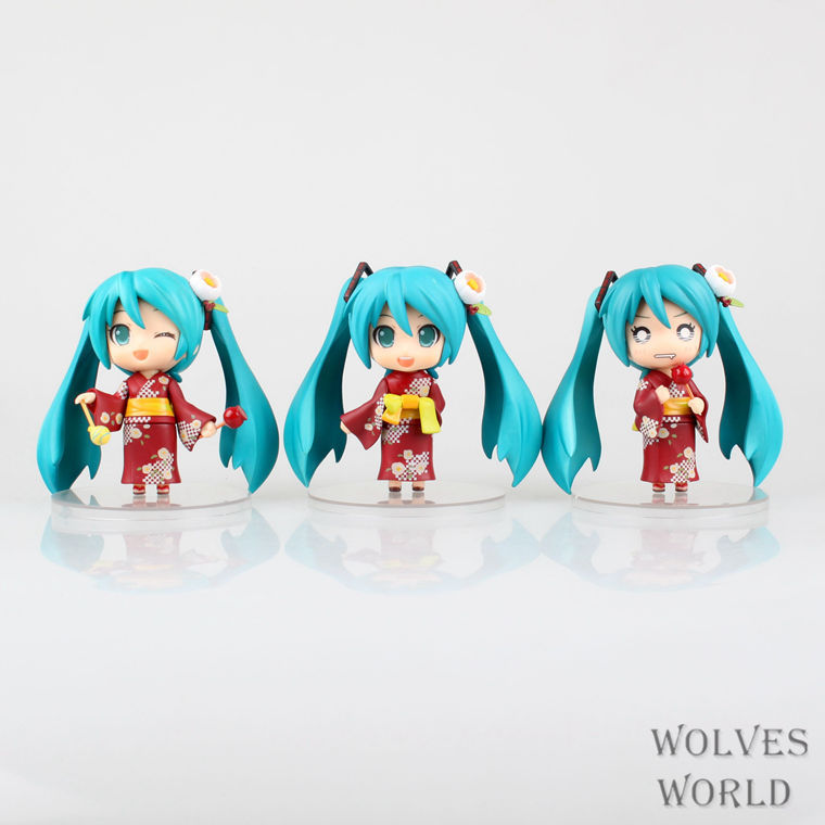ФОТО Christmas Free Shipping Japan Manga Good Simle Hatsune Miku Yukata Ver PVC Action Figure Collection Model Toys 3pcs/lot