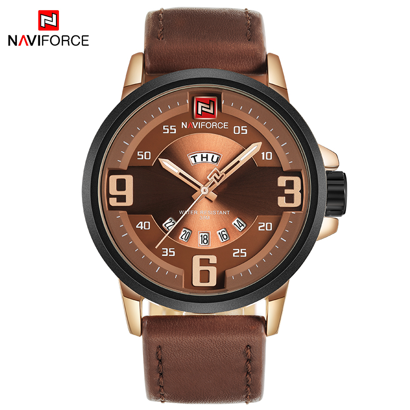 NAVIFORCE TOP Luxury Brand Men Sports Watches Men's Quartz Date Clock Male Leather Army Military Wrist Watch Relogio Masculino watches men naviforce brand fashion men sports watches men s quartz hour date clock male stainless steel waterproof wrist watch