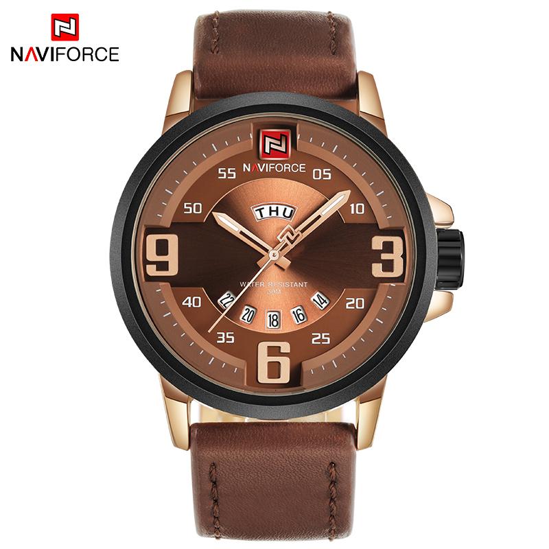 Prix pour NAVIFORCE TOP Marque De Luxe Hommes Sport Montres Hommes de Quartz Date Horloge Mâle En Cuir Armée Militaire Montre-Bracelet Relogio Masculino