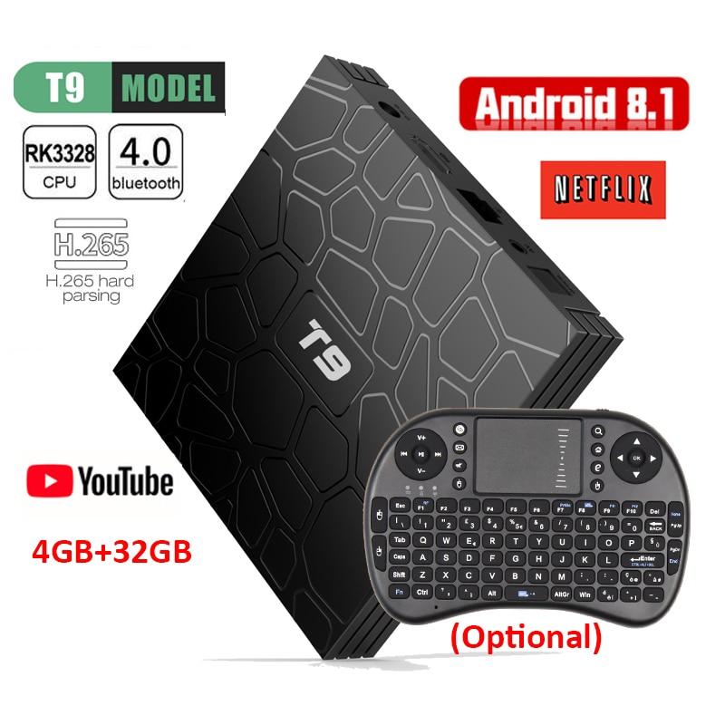 Android 8.1 T9 Smart TV Box 4 gb 32 gb Set Top Box RK3328 Quad core 2.4g Wifi Bluetooth 4.0 4 k H.265 Media Player avec i8 clavier