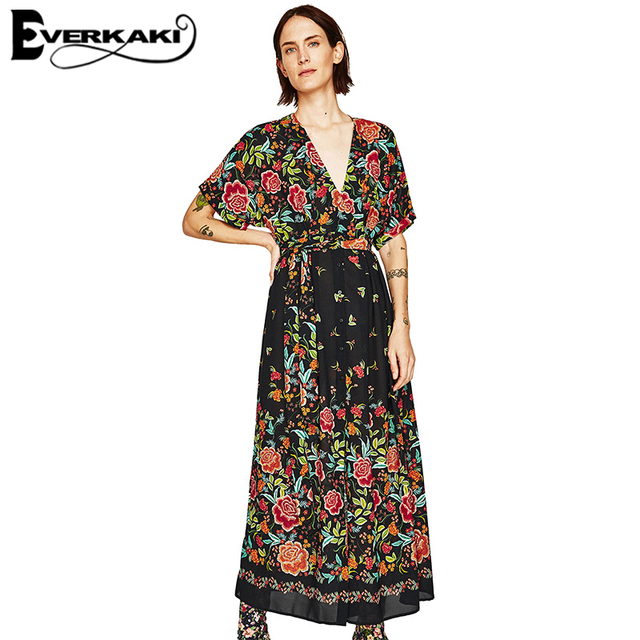 37834c3f108 Everkaki Women Summer Boho Dress Rose Florl Print Long Dress Short Sleeve  Maxi Dress V Neck