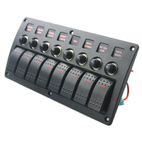 12V 24V 8gang ON OFF Rock Switch Panel for Boat Marine RV Yacht Ship Automotive Toggle Switches Red LED