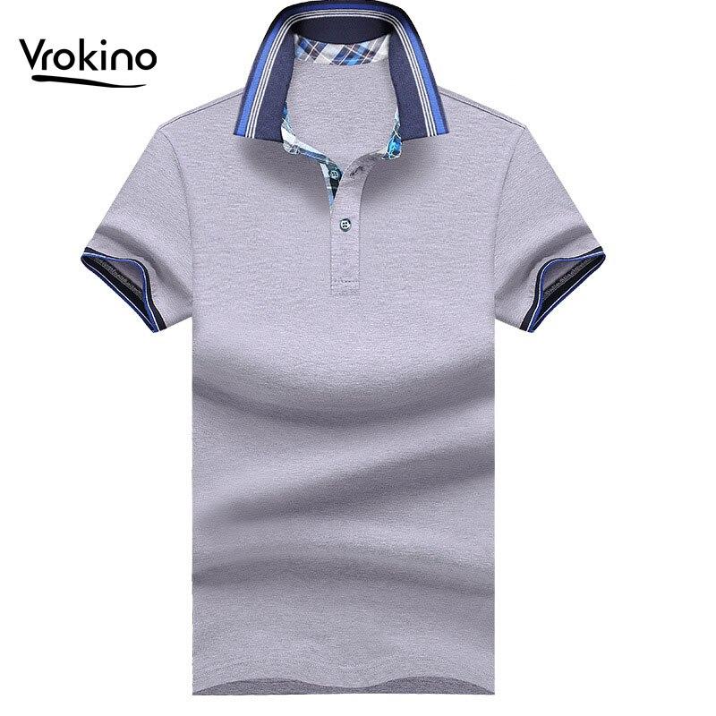 VROKINO 2019 New Men's   POLO   Shirt Business Casual Hit Color Men's Short-sleeved   Polo   Shirt Men's Solid Color Cotton   Polo   Shirt