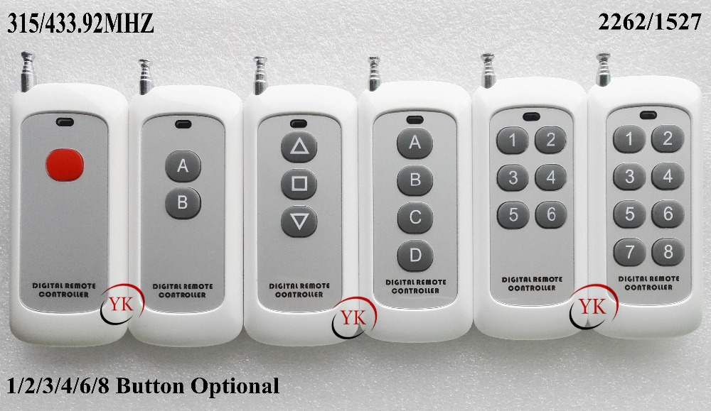 Remote Control Transmitter for Remote Switch 1/2/3/4/6/8 Button Small Size Long Range Big Button Remote key pad 315/433 22621527