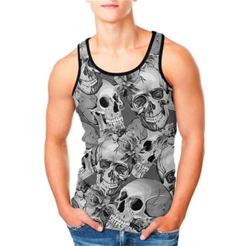 2019 Summer   Tank     Top   Men Skull 3D Printed Casual Fitness   Tank     Top   Men's Clothing Slim Bodybuilding Vest Sleeveless   Tops