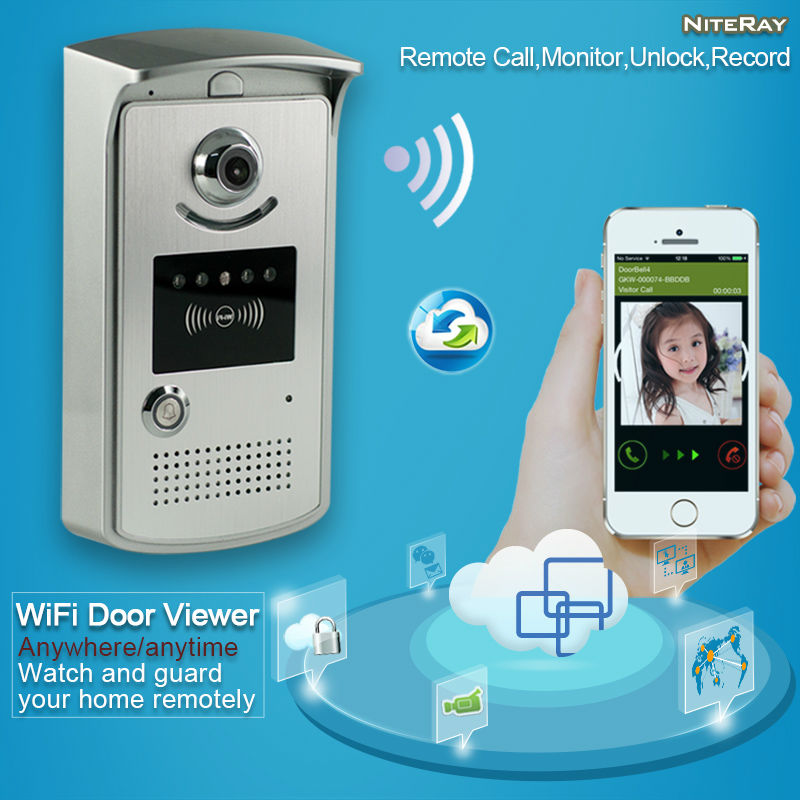 HD video peephole door camera ring wifi enabled video doorbell long range wireless video intercom home security alarm systems