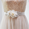 TOPQUEEN Stock S172 Ivory Wedding Blet with Flower Decoration Elegant Wedding Decoration Bridal Sash