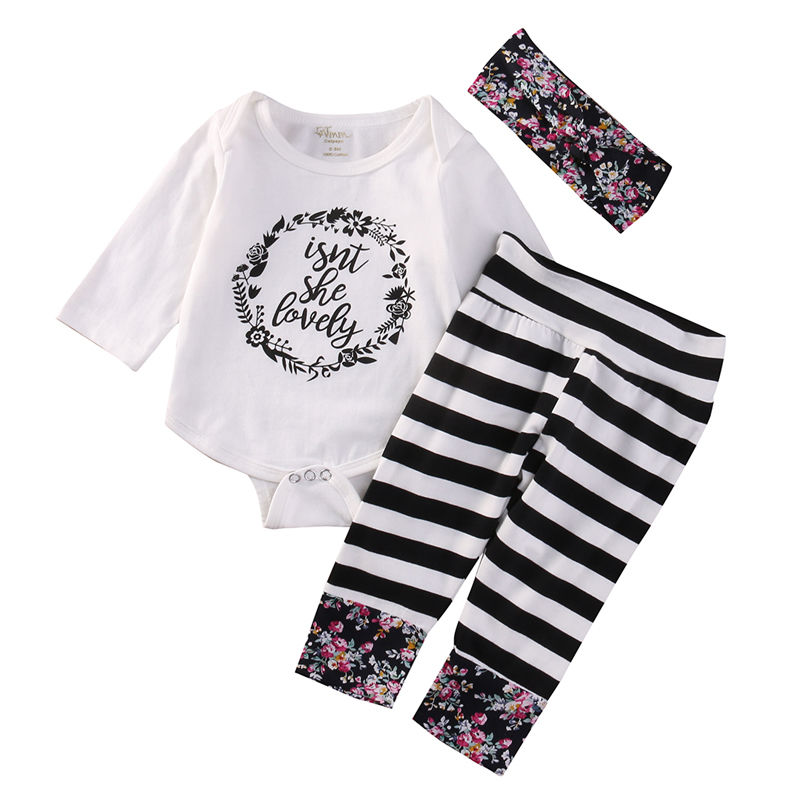 Fashion Infant Newborn Baby Girls Clothes Set Romper Stripe Tops Floral Pants Headband 3pcs Clothing Outfit Sets fashion 2pcs set newborn baby girls jumpsuit toddler girls flower pattern outfit clothes romper bodysuit pants