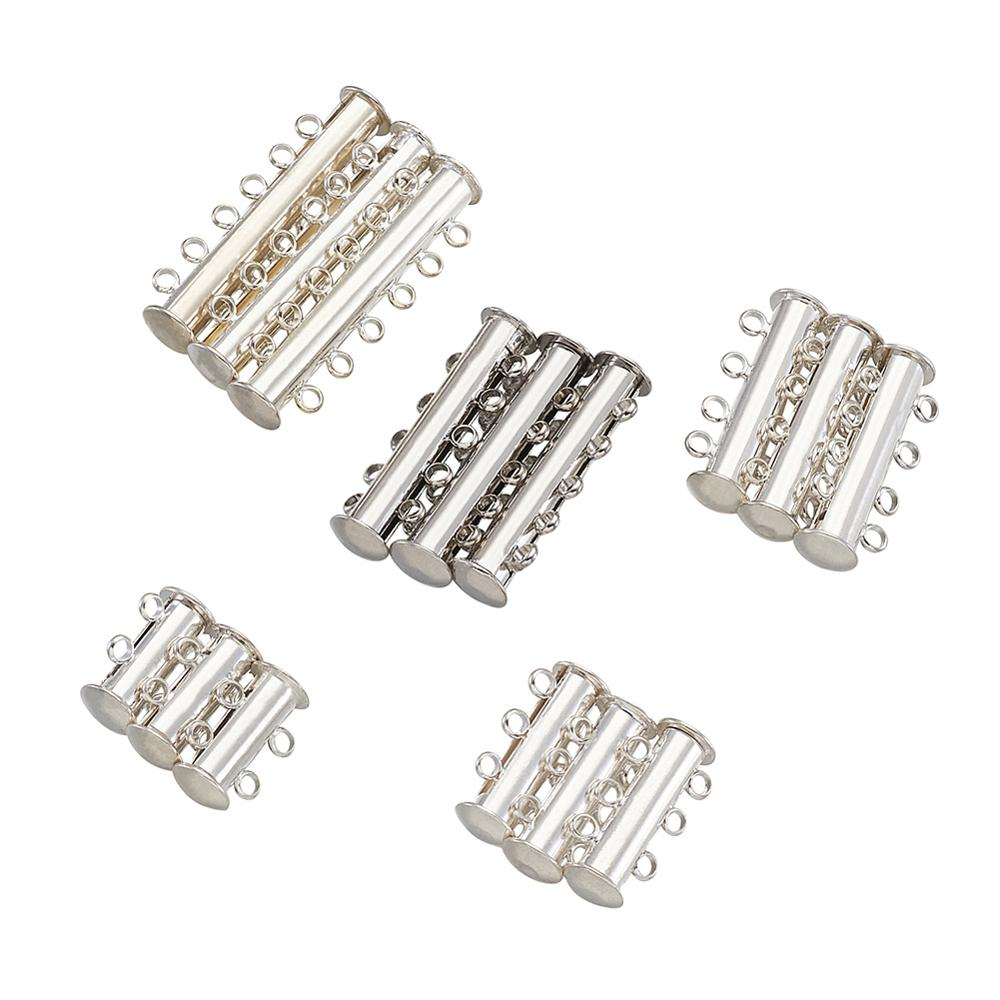 15pcs 2/3/4/5/6-Strand Slider Magnetic Lock Clasps Brass Tube Connectors Layering Clasp for Jewelry Necklace Bracelet Making
