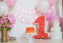 Laeacco Balloons Flower Cake Baby 1st Birthday Party Photography Backgrounds Customized Photographic Backdrops For Photo Studio