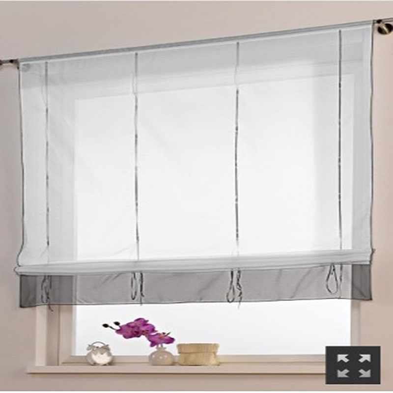 Kitchen Curtain Liftering Ribbon Roman Curtain Height Adjustable  Blinds Curtain Rod Pocket Style For Living Room Window Decor