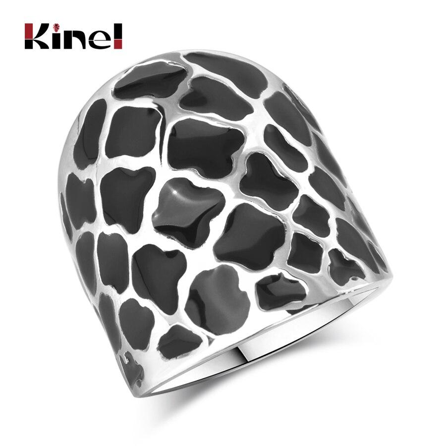 Kinel Unique Petal Black Enamel Big Ring Fashion Geometric Pattern Silver Color Punk Rock Women Jewelry in Rings from Jewelry Accessories
