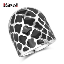 Kinel Unique Petal Black Enamel Big Ring Fashion Geometric Pattern Silver Color Punk Rock Women Jewelry
