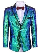 Erkek takım elbise Parlak Pul Takım Elbise Ceket Blazer Bir Düğme Smokin Parti Düğün için Ziyafet Balo Sahne kostüm