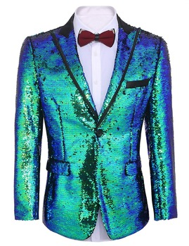 Men's suit Shiny Sequins Suit Jacket Blazer One Button Tuxedo for Party Wedding Banquet Prom Stage costume