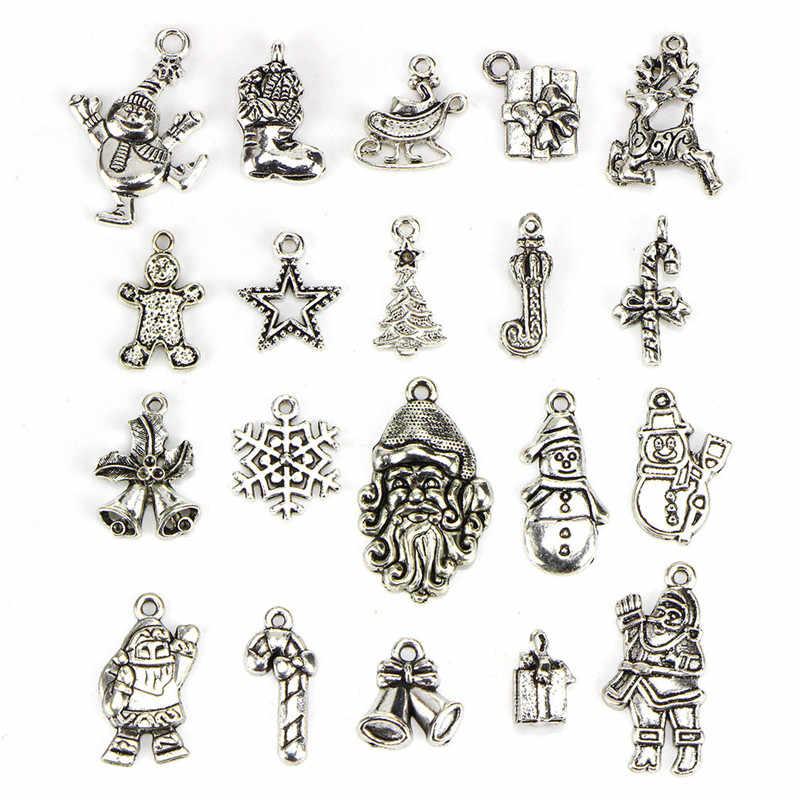 מכירה לוהטת DIY Nekclace צמיד ליל כל הקדושים Ghost קסם תליוני עתיק כסף עץ חג המולד סנטה פתית שלג