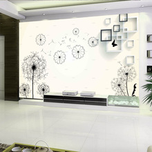 Modern simple white backdrop with abstract dandelion geometric pattern 3D wallpapers household wall TV Sofa sitting room bedroom
