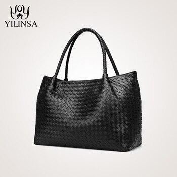 Moda designer bolsas de couro genuíno pele carneiro bolsa ombro tecer grande saco de compras marca artesanal totes