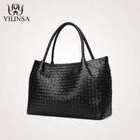 Модные дизайнерские сумки из натуральной кожи овчины сумка переплетения большая сумка для покупок бренд сумки ручной работы