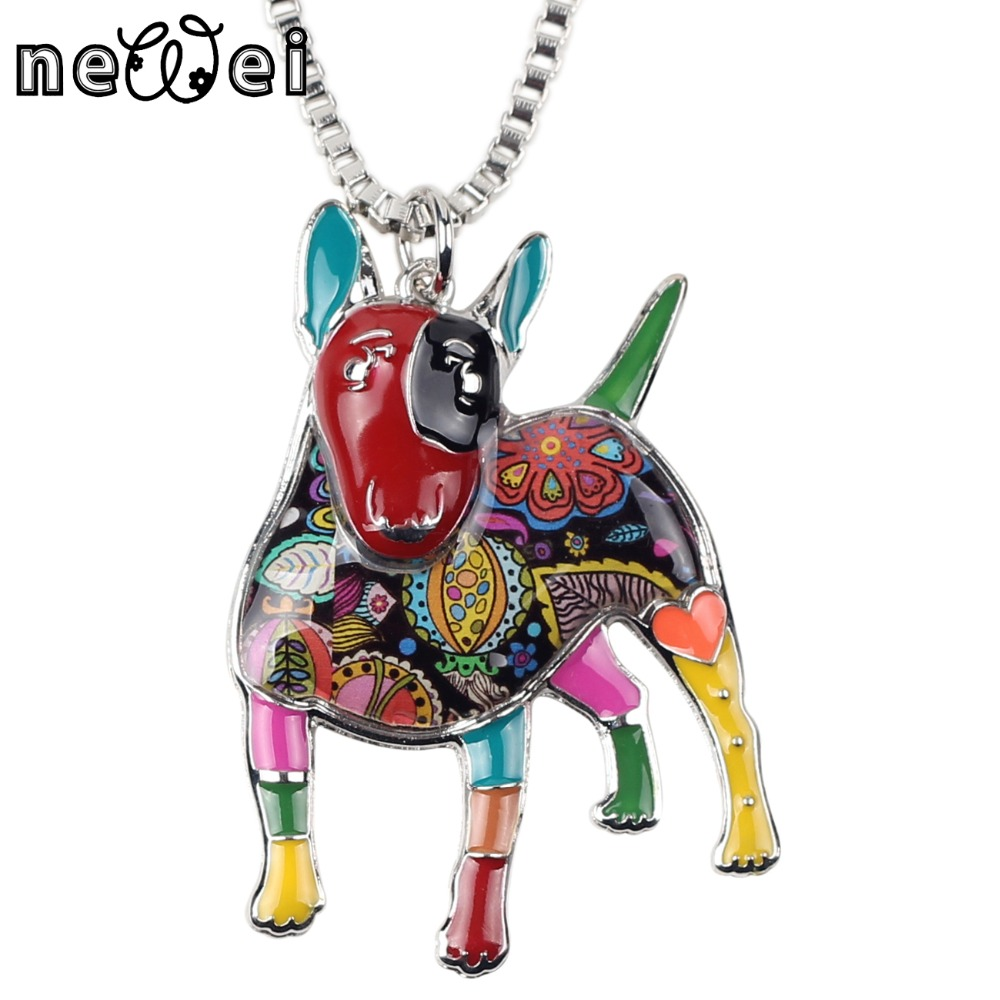 Bonsny Statement Maxi Alloy Enamel Bull Terrier Choker font b Necklace b font Chain font b