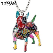 Bonsny Statement Maxi Alloy Enamel Bull Terrier Choker Necklace Chain Pendant Collar 2017 Fashion New Enamel Jewelry Women