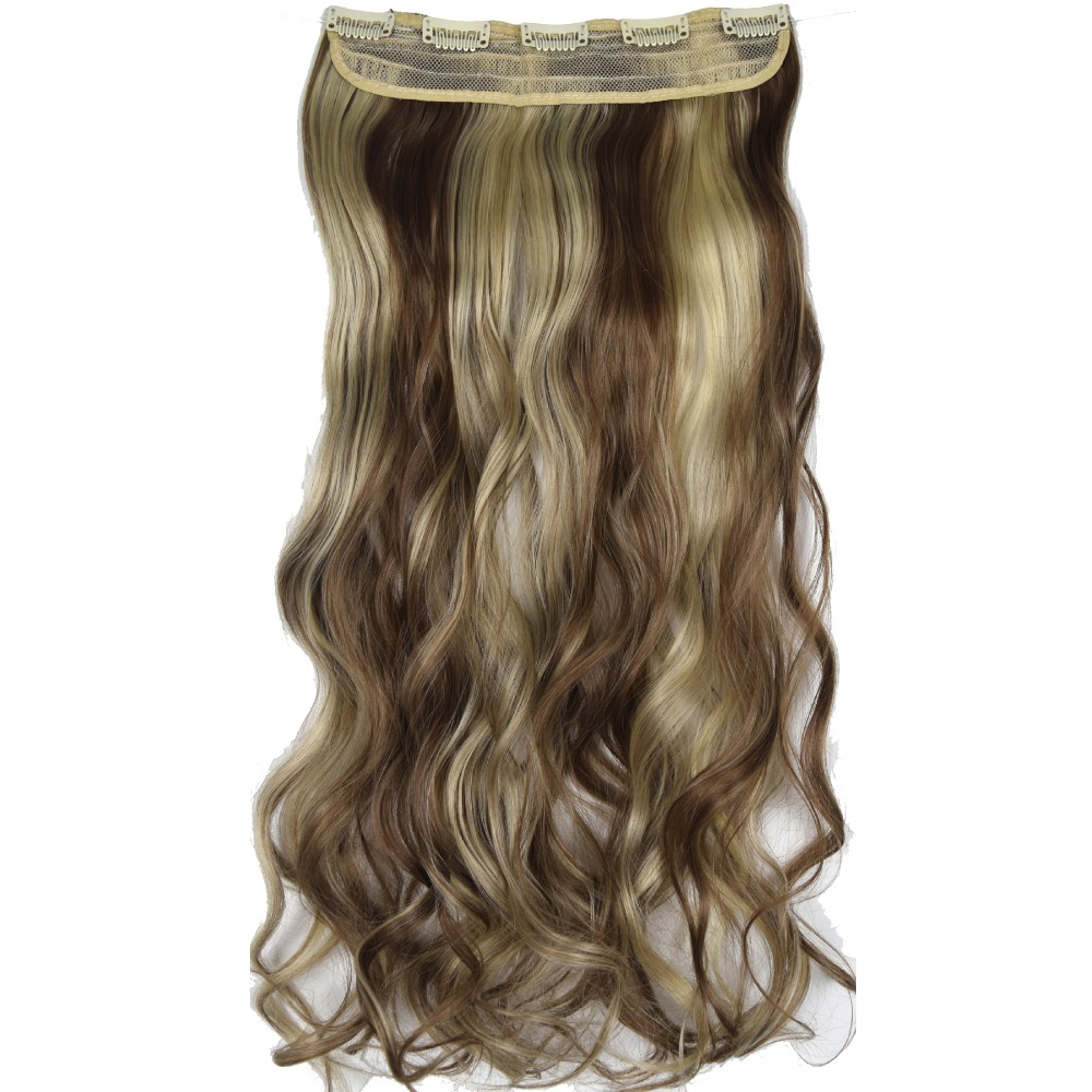 TOPREETY Heat Resistant B5 Synthetic 24 60cm 120gr Wavy 5 Clips on Clip in hair Extensions