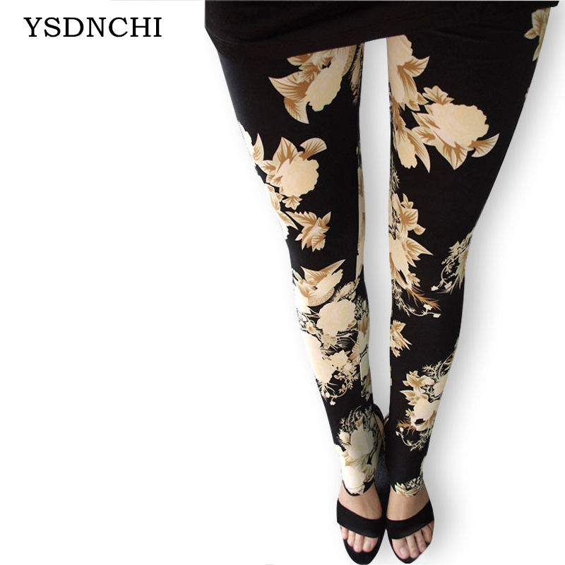Womens Leggings Fashion Sexy Women Rose Flower Printed leggins Slim Cotton Colorful Pants In stock A variety of styles trousers