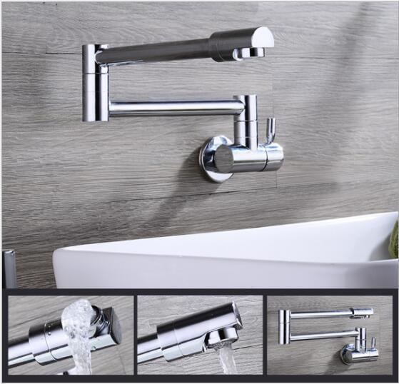 Livraison gratuite de haute qualité 360 degrés en laiton pliable mural chrome mitigeur de cuisine évier bassin robinet mitigeur