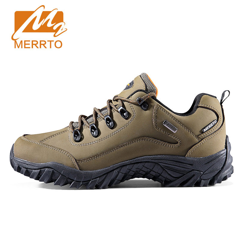 Merrto Genuine Leather Hiking Shoes For Men Women Outdoor Hiking Boots Sports Sneakers Trekking Shoes Camping Climbing Shoes 2018 merrto women hiking boots waterproof outdoor sports shoes full grain leather plus velvet for women free shipping 18001